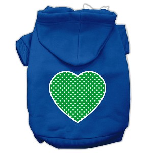 Green Swiss Dot Heart Screen Print Pet Hoodies Blue Size Lg (14)